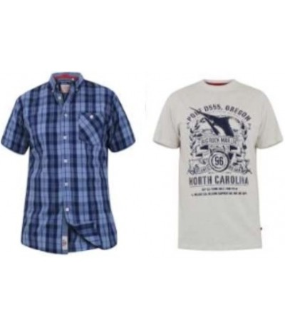 Genoa Koszula męska+t-shirt krata duże rozmiary