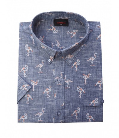 ESP 285 Koszula męska kr rękaw flamingi duże rozmiary