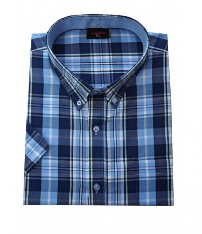 ESP 279 Koszula męska kr rękaw krata duże rozmiary