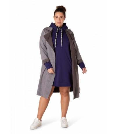 YES 32753 Płaszcz damski z paskiem duże rozmiary