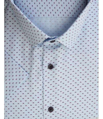 A-237 Koszula męska krótki rękaw niebieski-wzór duże rozmiary