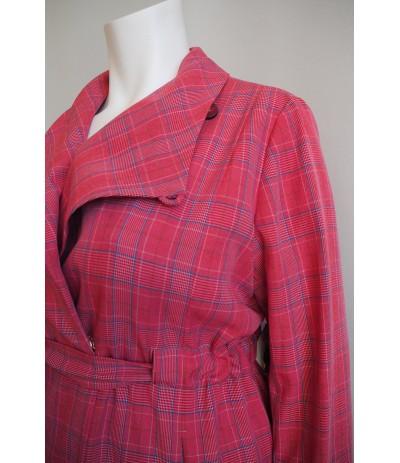 LO 9821 Płaszcz damski krata duże rozmiary