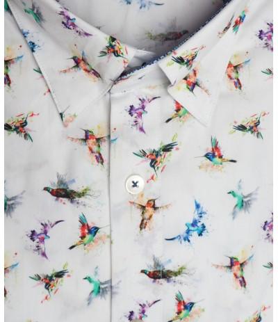 HTP 9439 Koszula męska  biały wzór duże rozmiary