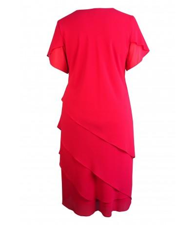 MICAELA 1 Sukienka wieczorowa malinowa duże rozmiary