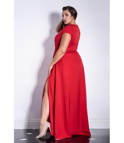 AFRODYTA  Sukienka wieczorowa długa czerwona duże rozmiary