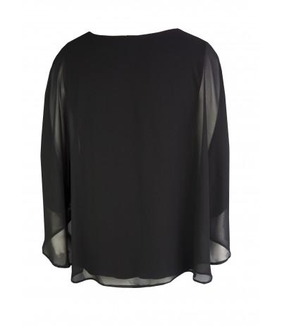 MON 180 Bluzka  kimonowa czarna duże rozmiary