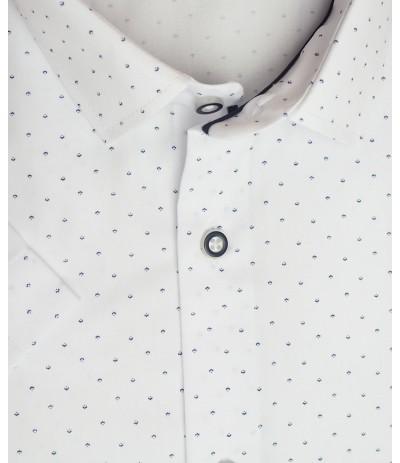 MLL A252 Koszula męska krótki  rękaw biały wzór duże rozmiar